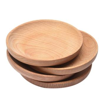 Wood Round Plate Cake Bowls Orphanages Home Restaurant Beech Solid Wood Round Serving Tray For Tea Cups Fruits Cocktail image