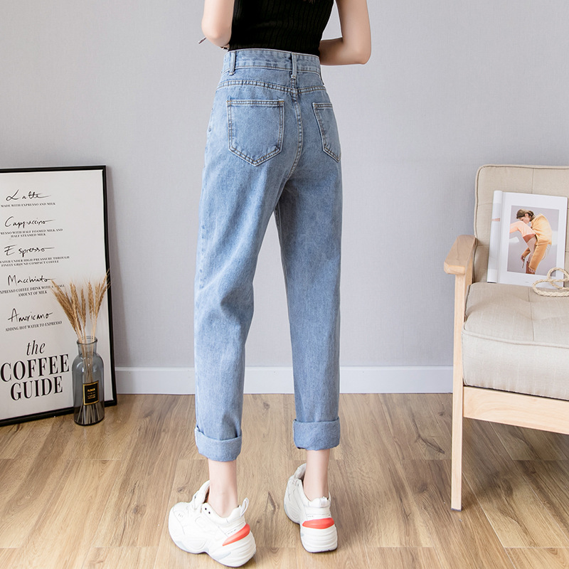 High Waist Jeans Women's 2019 Spring Clothing New Style Harem Pants Women's Loose-Fit Ripped Pants Children Straight-Cut Online