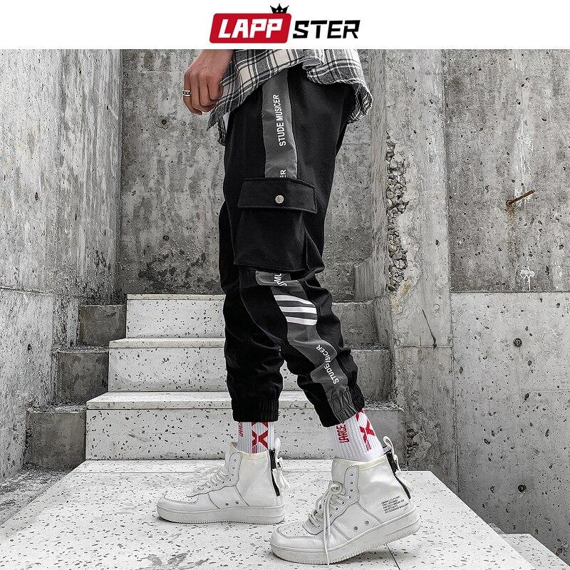 LAPPSTER Men Japanese Streetwear Joggers Pants 2019 Mens Side Striped Harajuku Track Pants Hip Hop Korean Sweatpants Trousers