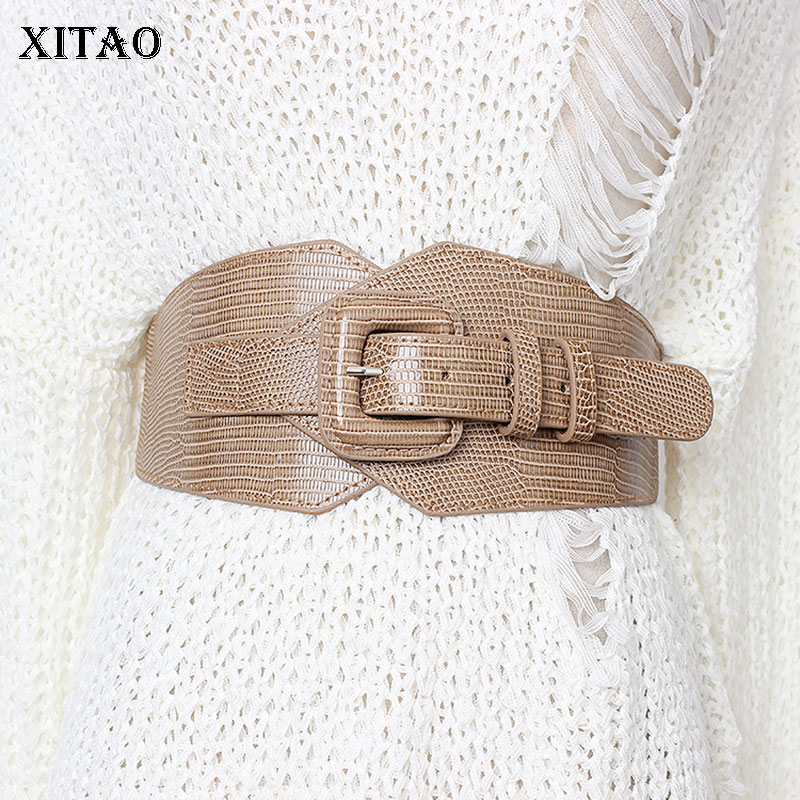 XITAO Vintage PU Fashion Cummerbunds Women Elastic Waist Elegant 2019 Autumn Winter Small Fresh Minority Cummerbunds GCC2452
