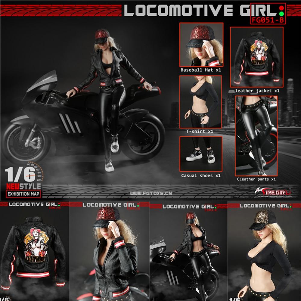 1/6 весы FG051 локомотив девушка женская черная кожаная одежда узор наборы костюм для тела 12 ''фигурки - 5