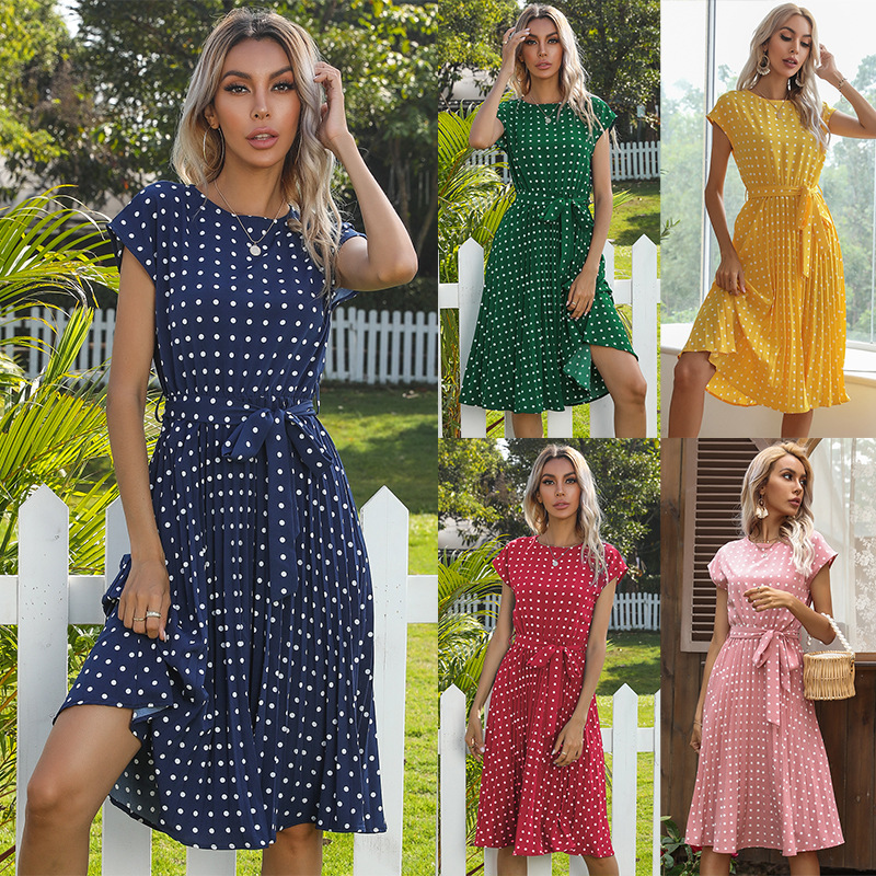 OLOMLB 2021 Summer New Fashion Casual Solid O Neck Short Sleeve Empire Ladies Dresses Buttons Hollow Out Wave Point Basic Women
