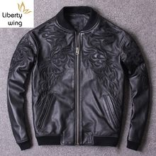 Spring New Motorcycle Chaqueta Cuero Hombre Embroidery Stand Collar Bomber Jacket Men Hip Hop Cowhide Genuine Leather Pilot Coat(China)