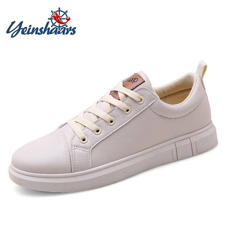 YEINSHAARS Brand Designer Mens Casual Shoes Breathable Fashion White Sneakers Men Leather Loafers Male Tenis Krasovki