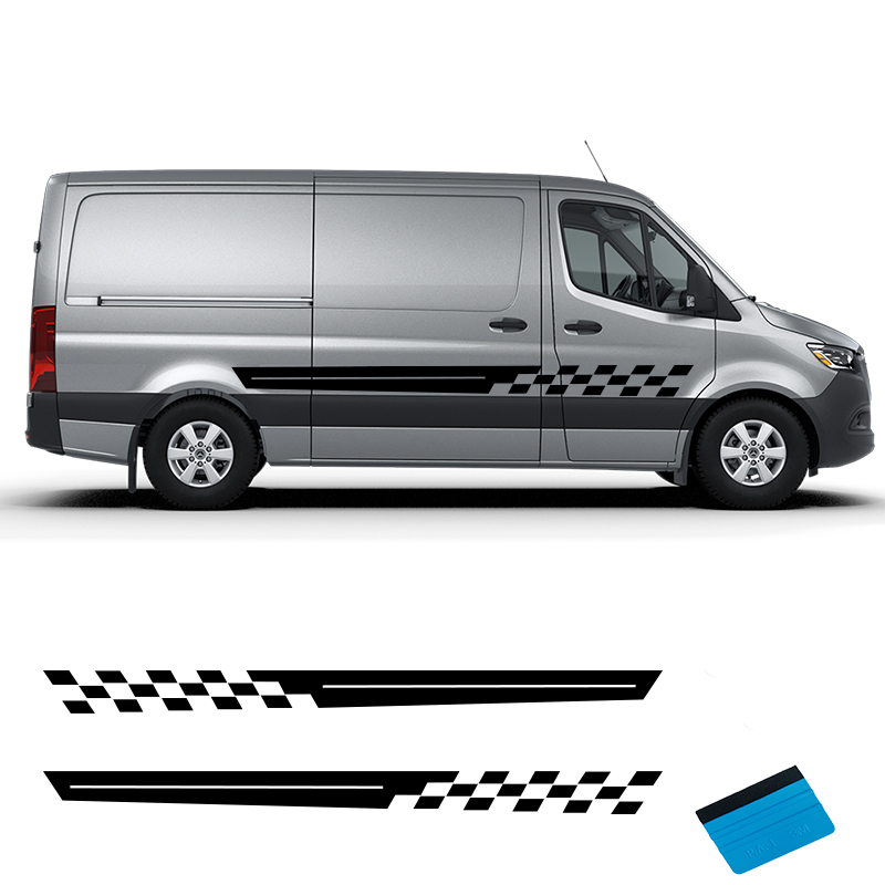 2 PCS Vinyl Car Styling Van Camper Side Skirt Sticker Decals Stripe Wraps Body Stickers For Vito Berlingo Fiat Ducato Renault Tr
