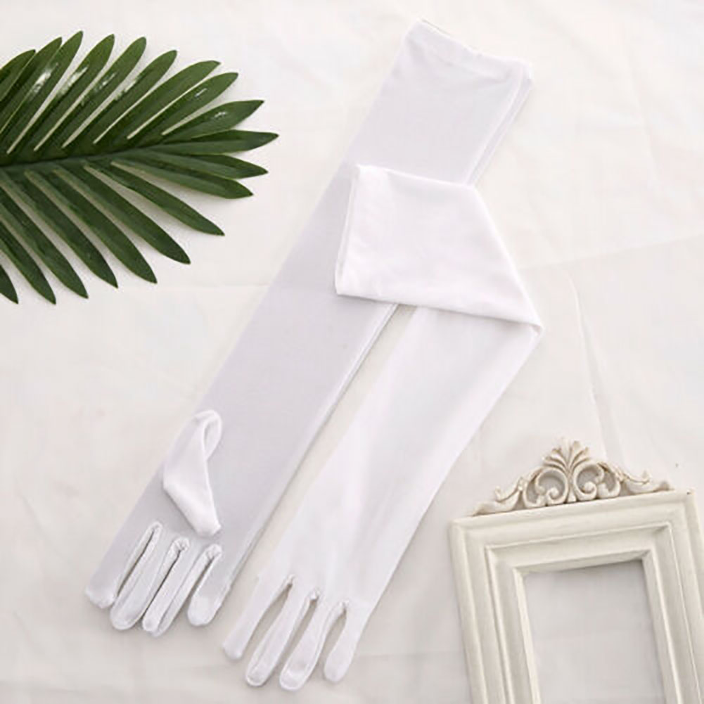 Women Long Solid Fashion Accessories Prom Gloves Stage Elegant Banquet Performance Opera Soft Evening Party