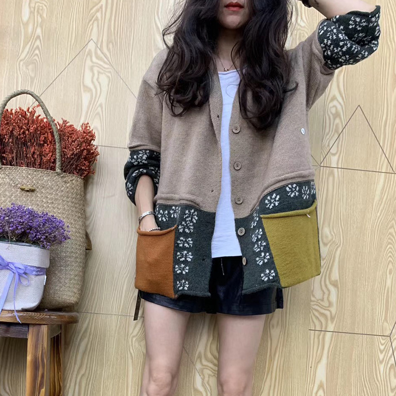Spring Autumn Fashion Brand Korea Style Vintage Patchwork Contrast Color Long Sleeve Slim Fit Hooded Knitting Pockets Sweater