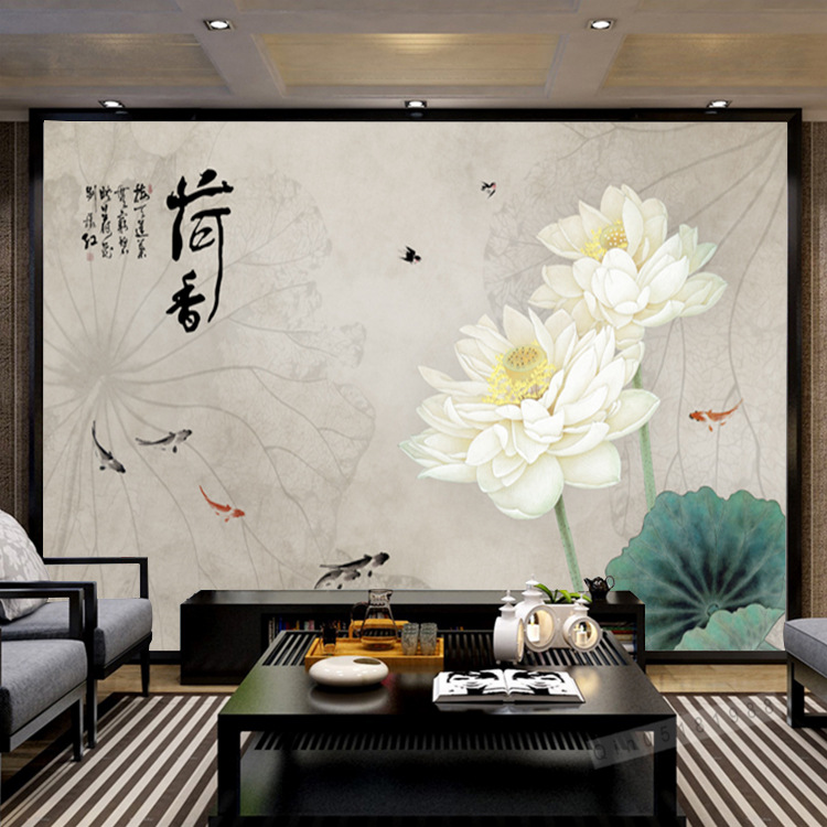 New Chinese Style Hand-Painted Fine Brushwork Lotus Seamless Mural Wallpaper Living Room Bedroom Sliding Door Sofa TV Backdrop