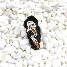 Screaming Skeleton Black Robe Ghost Brooch Enamel Pin Horror Holding Knife Death Gothic Badge Denim Shirt Pin Halloween Jewelry(China)