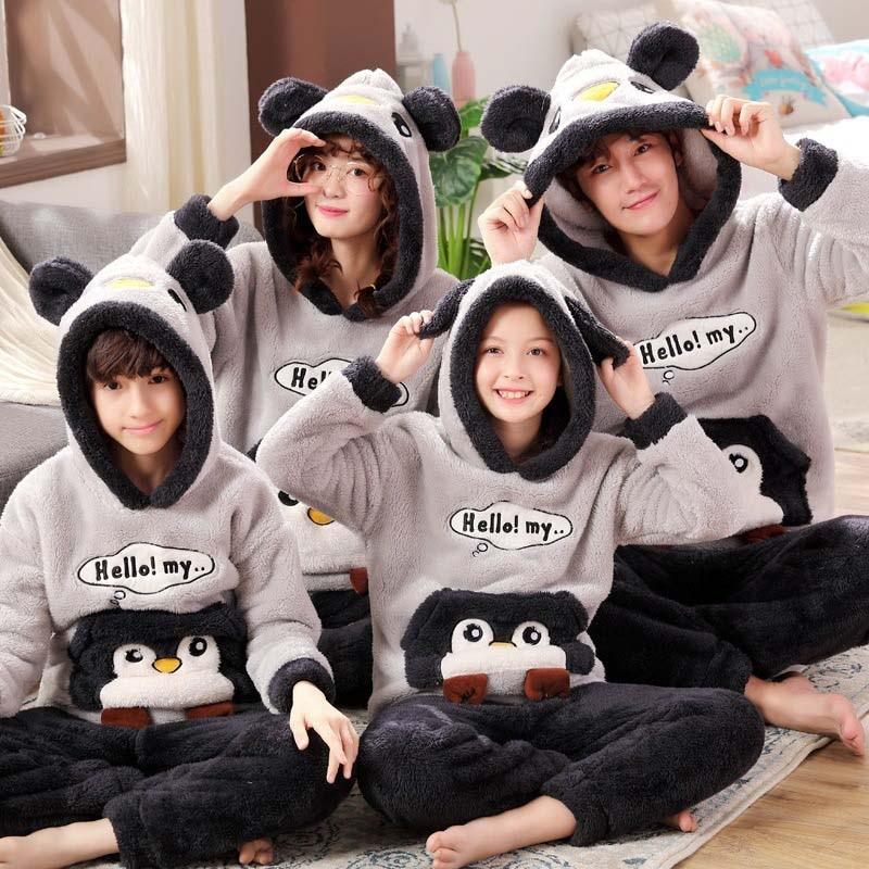New Parent-child Pajamas Unisex Adult Cute Cartoon Male Pajamas Set Thicken Hooded Animal Sleepwear Winter Warm Home Service