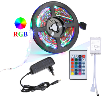 RGB LED Strip 5M 10M(2*5M) SMD 3528 2835 LED Light IR Remote Controller 12V Power Adapter Flexible Light Led Tape Home Decoratio image