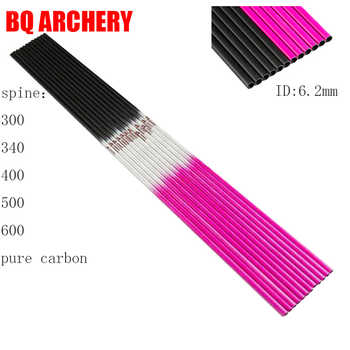 12pcs Archery Pure Carbon Arrows Shaft Pink ID6.2mm Spine300-600 Compound Traditional Bow Accessories Hunting Shooting - SALE ITEM Sports & Entertainment
