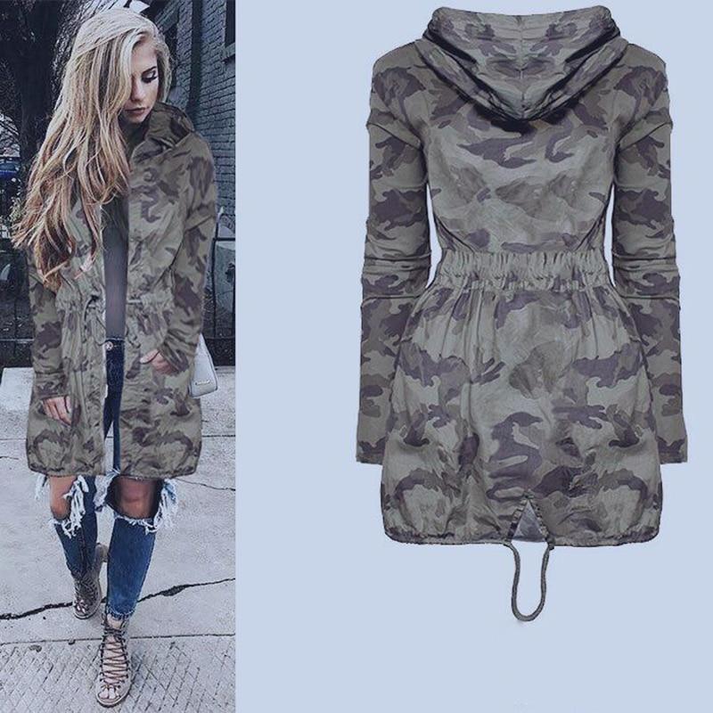 Womens Casual Long Hooded Coat Jacket Loose Zipper Army Camouflage Outwear Streetwear