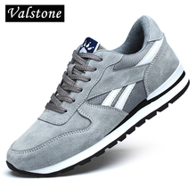 Valstone Genuine leather sneakers Men Breathable casual shoes non slip outdoor walking shoes light weight for walking Blue Gray