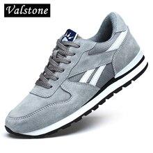 Valstone hakiki deri sneakers erkekler nefes alan günlük ayakkabılar kaymaz açık yürüyüş ayakkabısı hafif yürüyüş için mavi gri