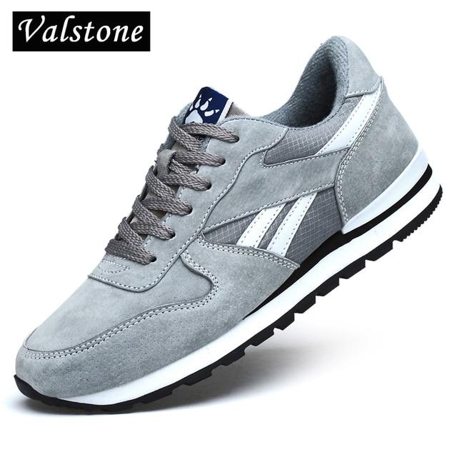 Кроссовки Valstone мужские из натуральной кожи, Повседневные Дышащие сникерсы, нескользящая светильник Личная обувь для прогулок, легкие, синие, серые