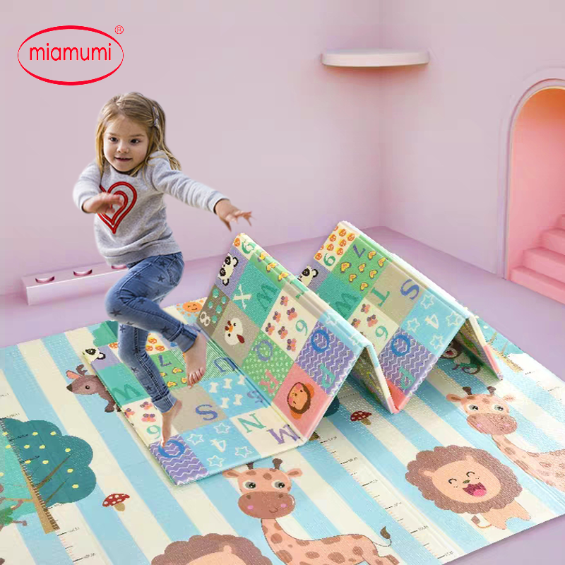 Miamumi Portable Baby Play Mat XPE Foam Double Sided Playmat Home Game Puzzle Blanket Folding Mat For Infants Kids' Carpet Rug