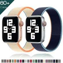 Pasek na pasek do Apple Watch 44mm 40mm 42mm 38mm Smartwatch pasek do zegarka Sport Nylon pętli pasek bransoletka iWatch seria 3 4 5 SE 6 tanie tanio CN (pochodzenie) 22 cm Od zegarków Nowy z metkami for i watch series 5 4 3 2 1 hook-and-loop Accessories for aple aplle applewatch 40 42 38 44 mm