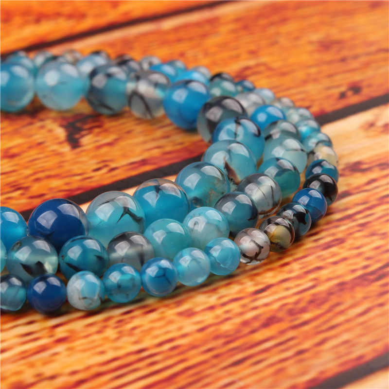 Blue Dragon Agate Natural Stone Bead Round Loose Spaced Beads 15 Inch Strand 4/6/8/10/12mm For Jewelry Making DIY Bracelet