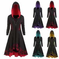 Vestido de mujer de estilo gótico de manga larga de encaje vestido de dobladillo Vintage vestidos de fiesta de noche Casual vestidos de otoño