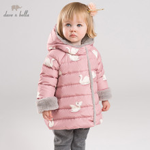 DB11954 dave bella winter baby down coat girls cartoon hooded outerwear with bag children 90% white duck down padded kids jacket