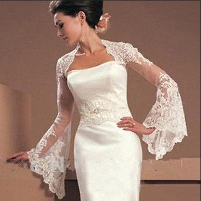 Long Sleeve Wedding Jacket Appliques Bridal Party Coat Backless Bridal Jacket Custom Made