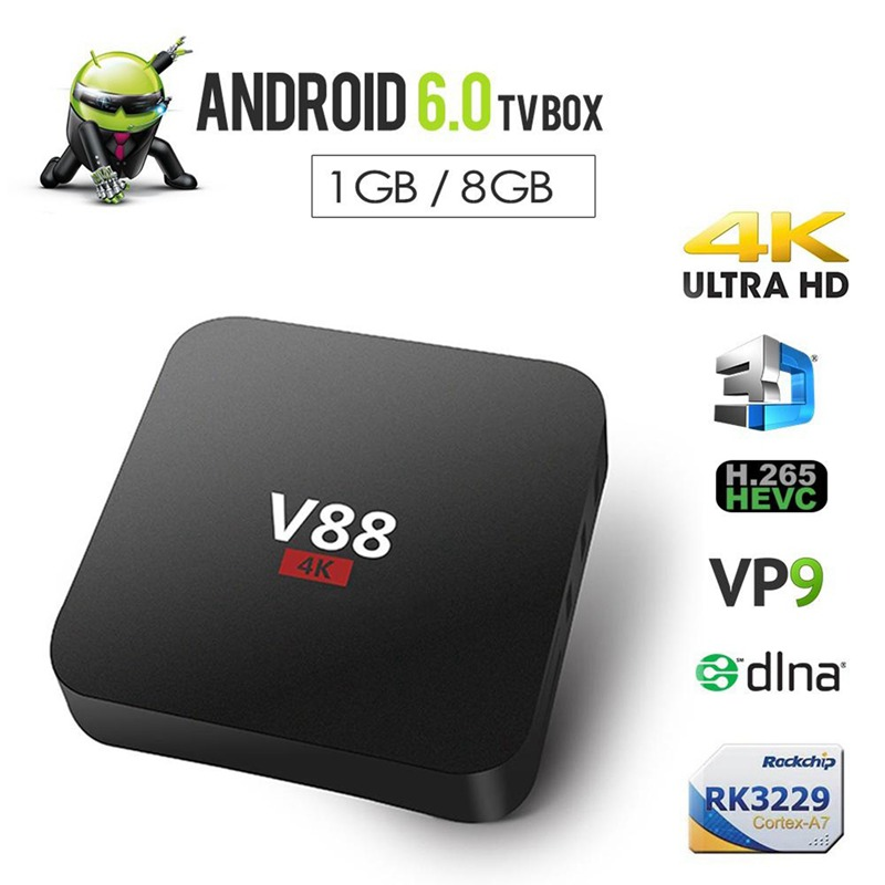 Home Theater V88 RK3229 Smart TV Set-Top Box Player 4K Quad-Core 8GB WiFi Media Player TV Box Smart HDTV Box Applies to Android