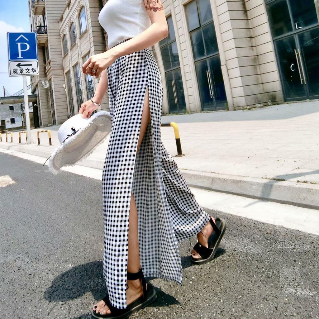 Female   Pants   2019 Fashion Women High Split Plaid Lace Up Side Slit trousers Casual Sexy   Wide     Leg     Pants   High waist joggers
