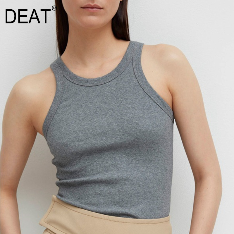 DEAT 2020 New Spring O-neck Solid Color Sleeveless Sling Tank Tops Women Streetwear Loose Sexy Fashion Tops Tide PD210