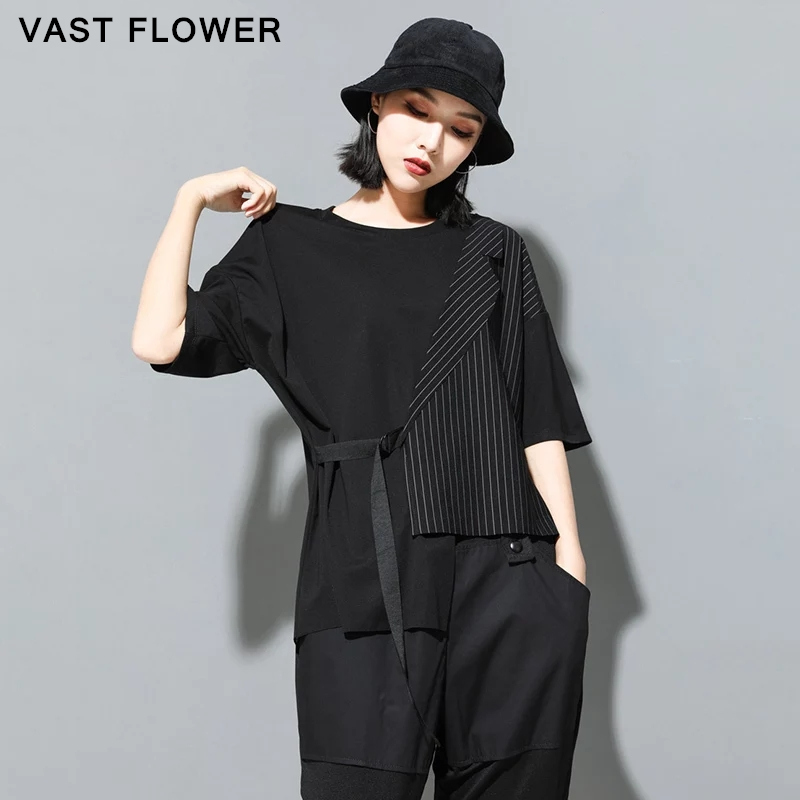 2021 Summer Black Striped Irregular Plus Size T-Shirt Women Fashion Patchwork O-Neck Half Sleeve Loose Casual Tee Tops Clothes