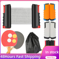Full Set Ping Pong Net Rack With 1Pair Table Tennis Paddle 4PCS Balls Kit Table Tennis Net Racket Set 72 Inches Max Telescopic