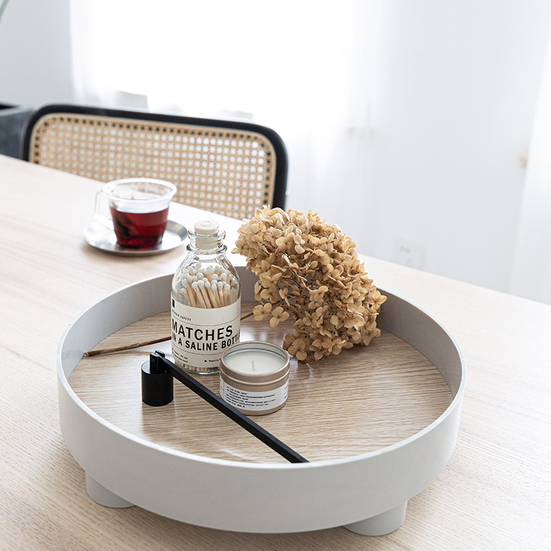 Nordic round Tray Household Minimalist Snacks Sundries Cosmetics Storage Tray Tea Tray Ins Wooden Plastic