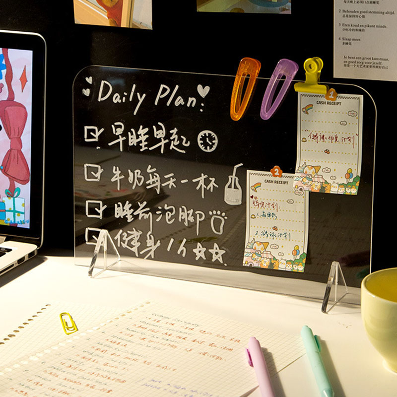 Premium Quality Acrylic Note Board with Base Stand Transparent Durable Lightweight Long Lasting Reusable for Home School Office