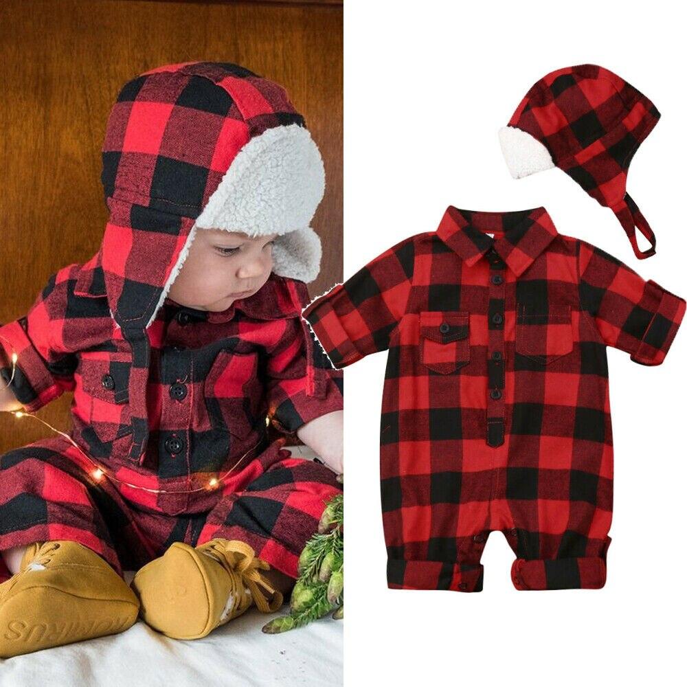 Neugeborenen Kinder Baby Jungen Mädchen Weihnachten Kleidung Plaid Romper Overall Hut Warme Outfit