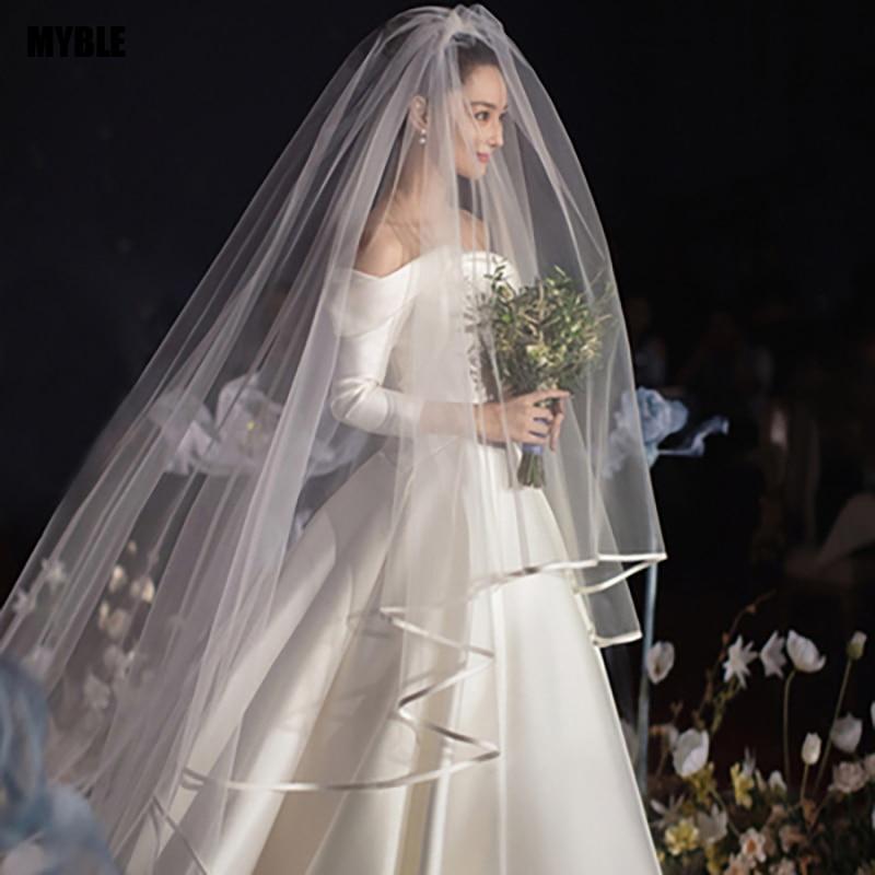 Real Photo White/Ivory Two Layer Wedding Veil 3.5m Ribbon Edge Mantilla Bridal Veil Of Bride Wedding Accessories Veu De Noiva