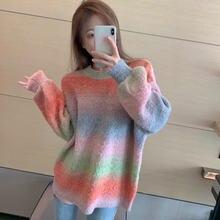 Зима 2020 вязаный свитер для женщин Радужный цвет флис сладкий