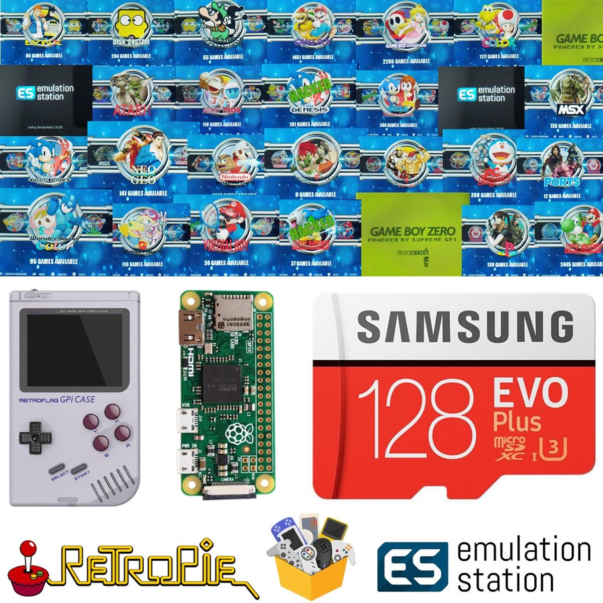 128 ГБ Retropie эмуляционная станция SD-карта для вашего GPi чехол Raspberry Pi Zero 14000 + игры FC NES SNES GBA PS NEOGEO ATARI LYNX