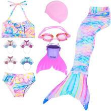 2020 ילדים חדשים בת ים זנב תלבושות בנות ביקיני סט לשחייה קוספליי תלבושות בת ים בגד ים עם מונופין בת ים כיסוי ראש