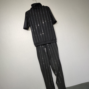 Large Size Womens Twopiece Set Hot Drilling High Collar Wide T-shirt + Harem Pants Ladies Two-Piece Plus Suit