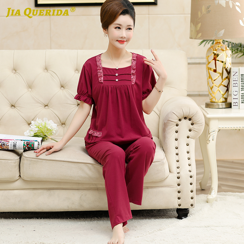 Elegant Women's Sleepwear Pajamas Set Summer Short Sleeves Long Pants Lace Decorated Square Collar Cotton Plus Size 4XL Homewear