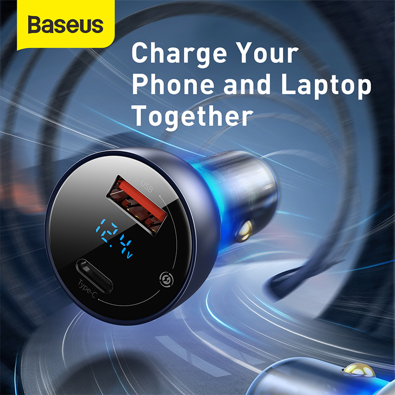 Baseus 65W Car Charger Dual USB Quick Charge 4.0 3.0 USB Car Charger for Huawei SCP QC4.0 QC3.0 Fast Charging Charger For iPhone 2