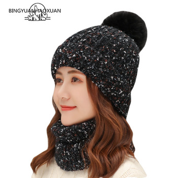 New Winter Women Plus Velvet Knitted Warm Wool Scarf Hat Sets Girls Pom Poms Beanies Cap Windproof Hat Thick Scarf Set For Women new youth winter thick plus cashmere warm masks hat scarf autumn winter women s knit hat wool ball cover ear collar three set