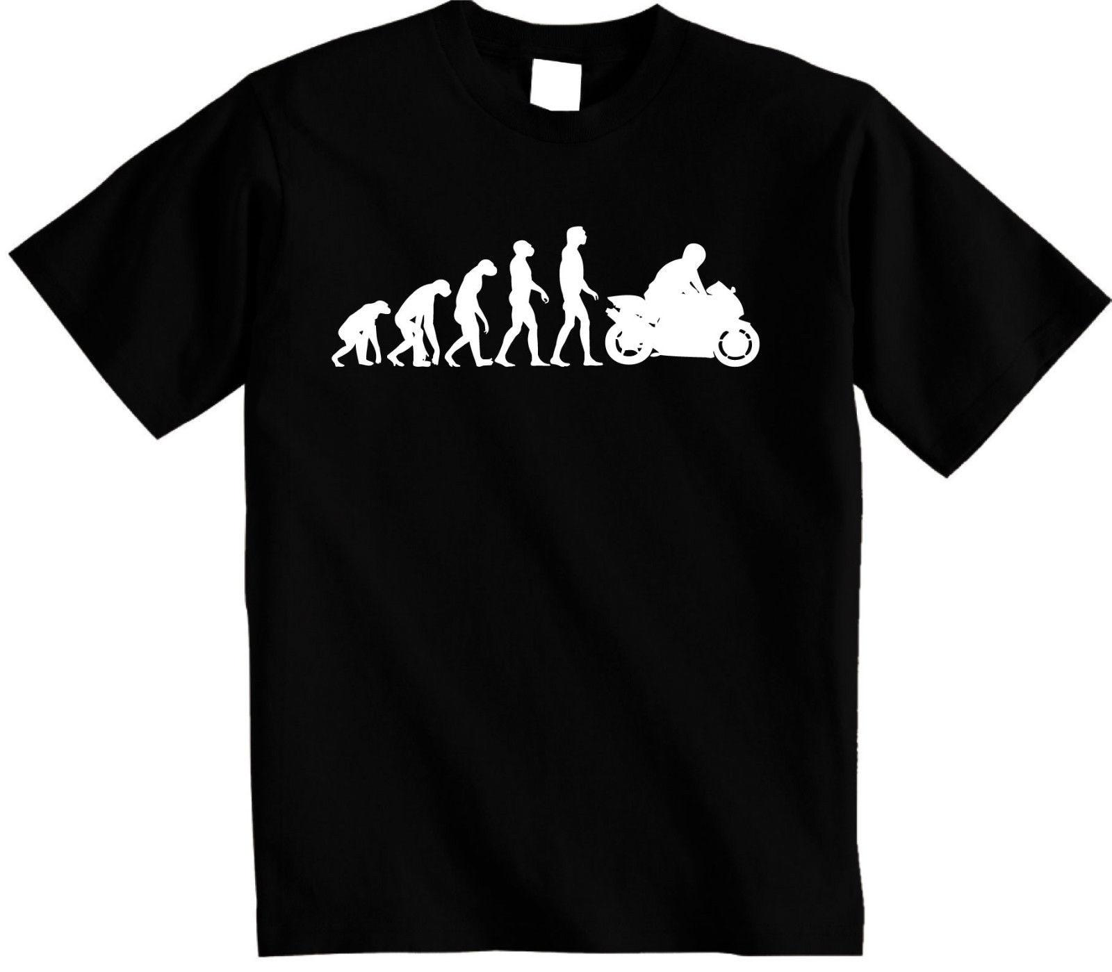 Summer Mens Summer Tops Tees T Shirt Motorbike T-Shirt | Evolution of Motorcycle Biker Premium T Shirt funny Cotton Tee