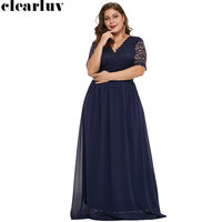 Evening Dresses V neck Floor Length Women Party Dresses 2019 Half sleeve Elegant Plus Size Robe De Soiree Lace Formal Gowns T044