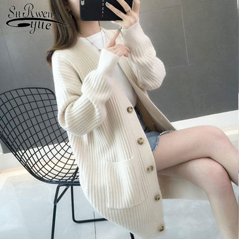 2019 Autumn/winter Fashion Women Cardigans Casual Solid Long Women Cardigan Long Sleeve Button Sweater Women 5784 50