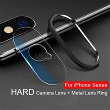 Protector de pantalla para lente de cámara cristal templado + anillo de Metal para IPhone SE 2 2020 8 7 6 6s Plus SE2 XR X XS 11 Pro Max