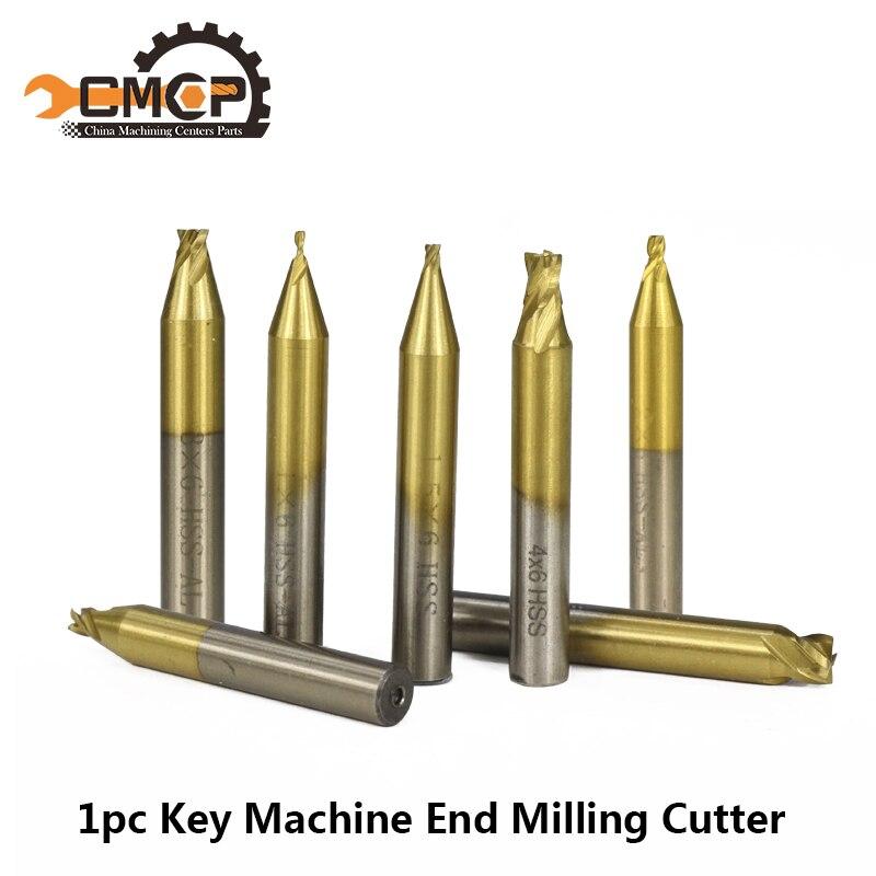 1pc 6mm Shank Titanium Coated Key Cutting Machine End Milling Cutter 1/1.5/2.0/2.5/3.0/4.0/5.0mm Vertical Key Machine