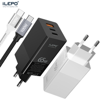 ILEPO 65w Charger Type c Fast Charger For Laptop iPhone 12 Pro Tablet PD 4.0 3.0 usb C Quick Charge with Cable Travel Charger