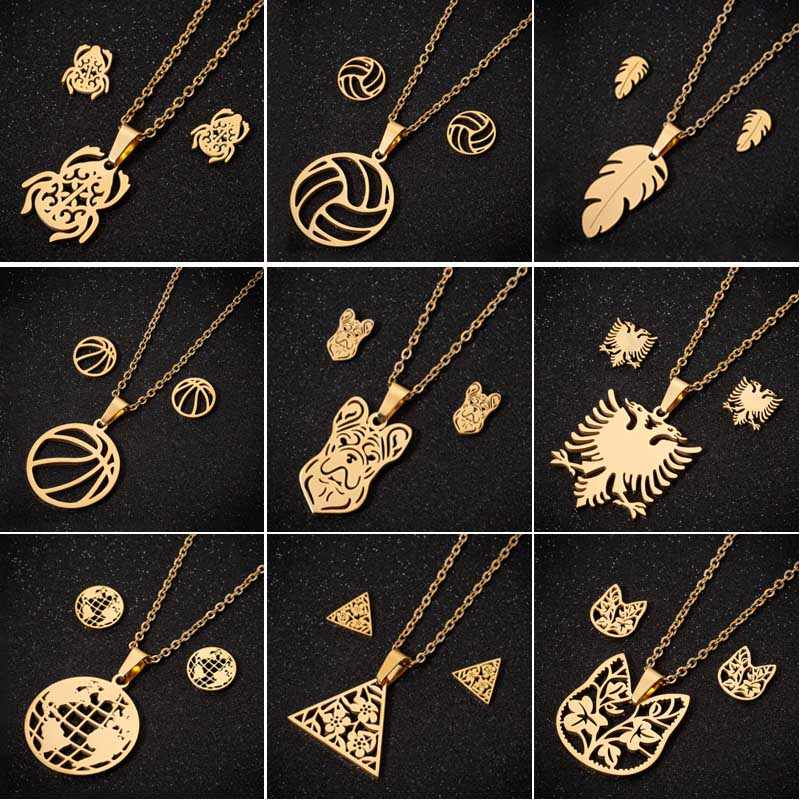 SMJEL Stainless Steel Feather Earrings Gold Chain Jewelry Sets Women bijoux enfant fille Amulet Eagle Necklaces Wholesale 2019