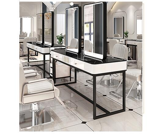 Beauty Salon Mirror Stage Net Red With Lamp Barber Mirror Stage Hair Salon Special Single And Double-sided Mirror With Lamp Cine